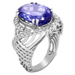 White Gold and Diamond Cocktail Ring with Tanzanite Center