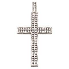White Gold and Diamond Cross Pendant