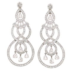 White Gold and Diamond Dangle Drop Earrings