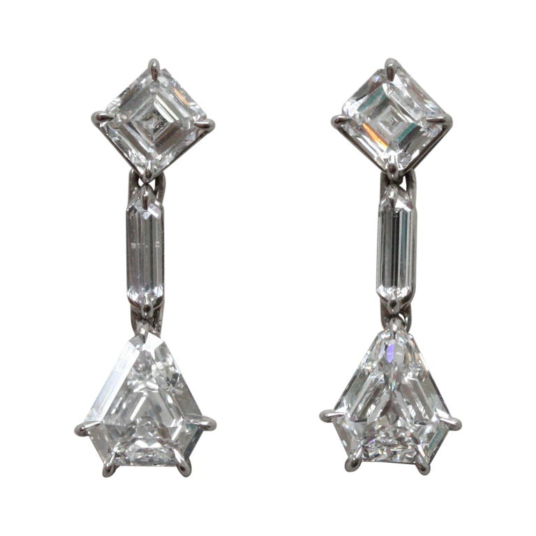 White Gold and Diamond Earrings For Sale