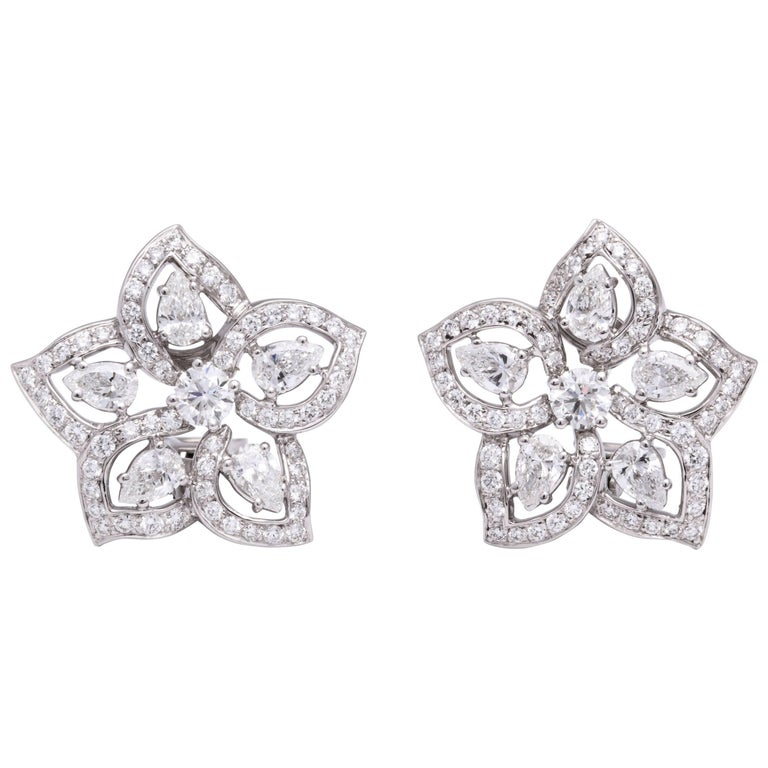 White Gold and Diamond Floral Earrings For Sale