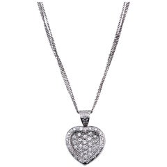 White Gold and Diamond Heart Pendant with Triple-Link Chain