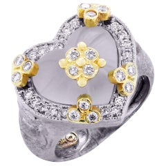 White Gold and Diamond Heart Ring with Frosted Crystal Center Stambolian