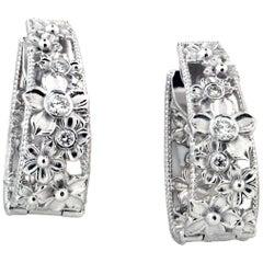 White Gold and Diamond Hoop Flower Earrings Stambolian