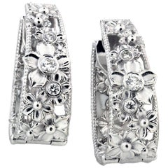 White Gold and Diamond Hoop Flower Earrings Stambolian
