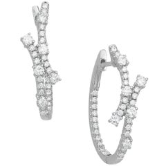 White Gold and Diamond Hoops Star Design