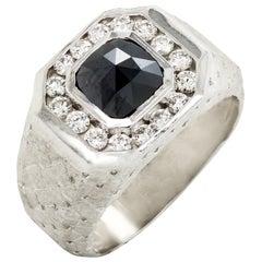 White Gold and Diamond Men's Ring with Black Diamond Center Stambolian