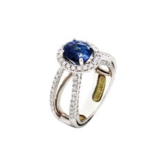 White Gold and Diamond Ring with EGL Certified No Heat Blue Sapphire Center