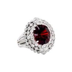 White Gold and Diamond Ring with Garnet Center Stambolian