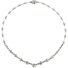 White Gold and Diamond Rivière Necklace