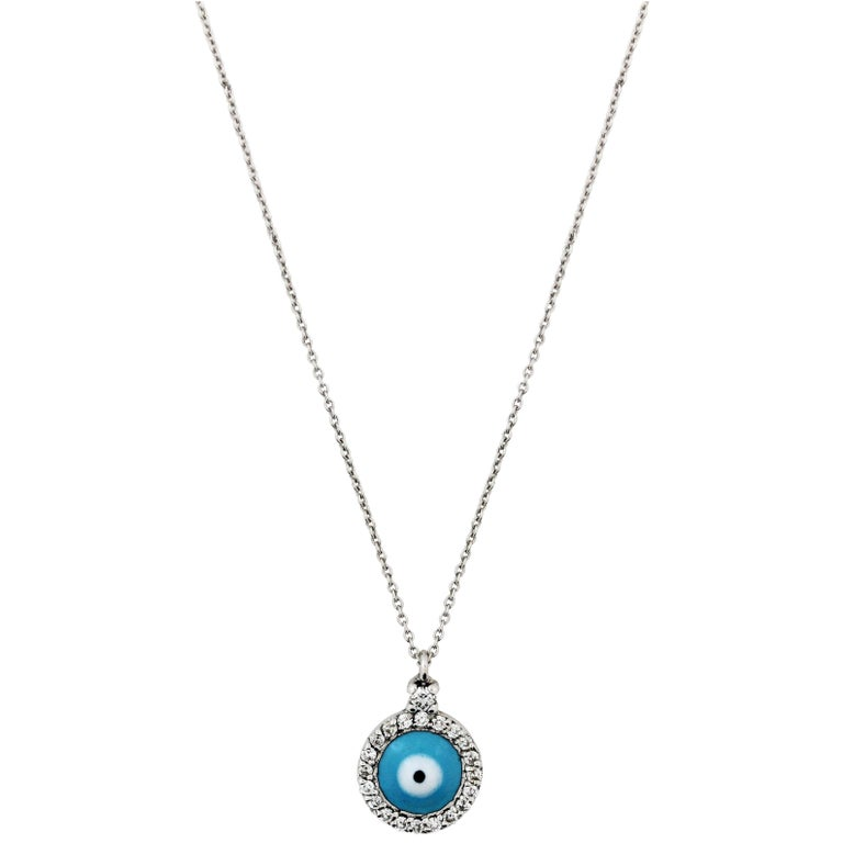 68afa4164c0956 White Gold And Diamond Round Evil Eye Necklace With Blue Enamel For