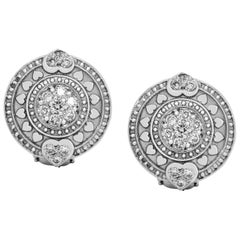 White Gold and Diamond Round Stud Earrings with Hearts Stambolian