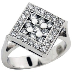White Gold and Diamond Square Ring