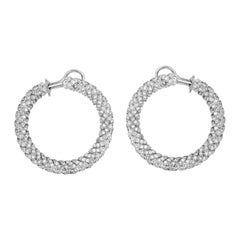 White Gold and Diamond Twisted Hoop Earrings Stambolian