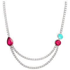 Necklace crafted in 18K White Gold, Diamonds, Paraiba Tourmaline and Rubellite