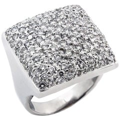 White Gold and Pave Set Diamond Dome Ring