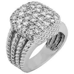 White Gold and Pavé Set Diamonds Cable Band Men's Ring