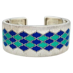 White Gold and Silver Buccellati Bracelet, Enamel