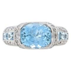 White Gold Aquamarine and Diamond Ring, 14 Karat Oval Cut 3.85 Carat
