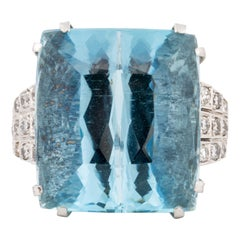 Cushion Aquamarine Ring with Diamonds in 18K White Gold