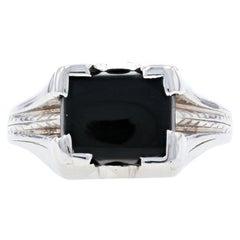 White Gold Art Deco Black Onyx Men's Ring, 10k Vintage Solitaire