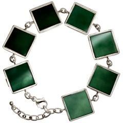 White Gold Art Deco Bracelet with Dark Green Quartzes, Featured in Vogue