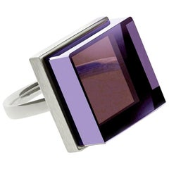 White Gold Art Deco Style Ring with Amethyst, Featured in Vogue