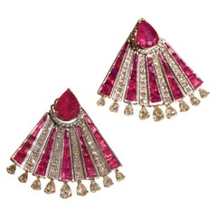White Gold Art Deco Studs with 20 Carat Ruby and 4.52 Carat Diamond