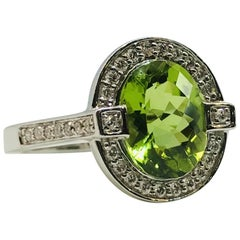 "White Gold ""Art-Deco"" Style Diamond and Peridot Ring"