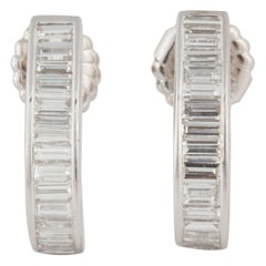 White Gold Baguette Diamond Half Hoop Earrings
