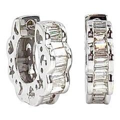 White Gold Baguette Diamond Huggie Earrings