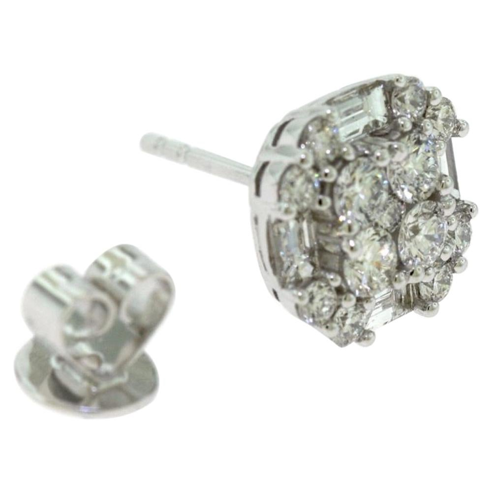 White Gold Baguette Round Diamond Square Cushion Stud Earrings
