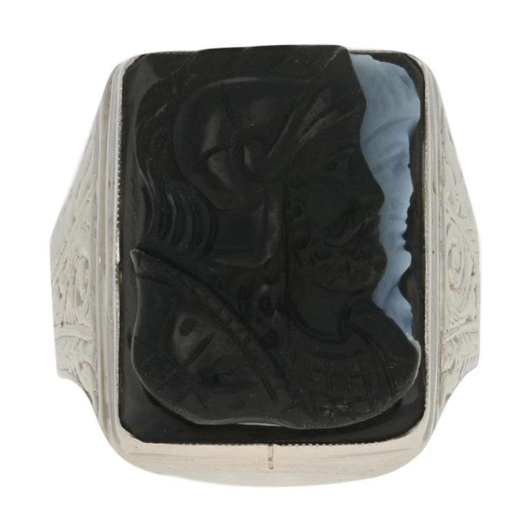 White Gold Banded Agate Carved Cameo Art Deco Style Ring, 14 Karat Men's Vintage