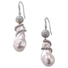 Nina Runsdorf White Gold Baroque Pearl and Diamond Ball Earrings