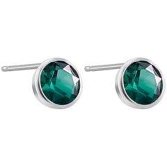 White Gold Bezel Emerald Stud Earrings 0.90 Carats