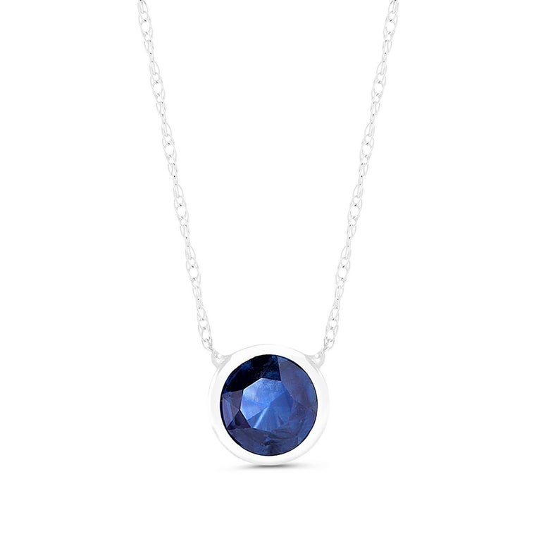 Contemporary White Gold Bezel-Set Sapphire Pendant Necklace Weighing 1.25 Carat