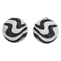 White Gold Black and White Diamond Huggie Earrings