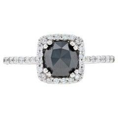 White Gold Black Diamond Halo Engagement Ring, 14 Karat Rose Cut 1.20 Carat