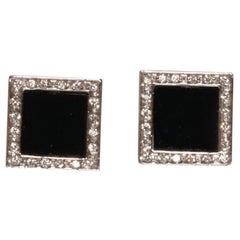 White Gold Black Onyx and Diamond Earrings