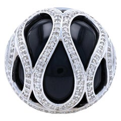 White Gold Black Onyx and Diamond Ring, 14 Karat Single Cut 1.00 Carat