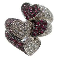 White Gold Black Rhodium 2.00 Carat Diamond 3.00 Carat Ruby Bypass Ring