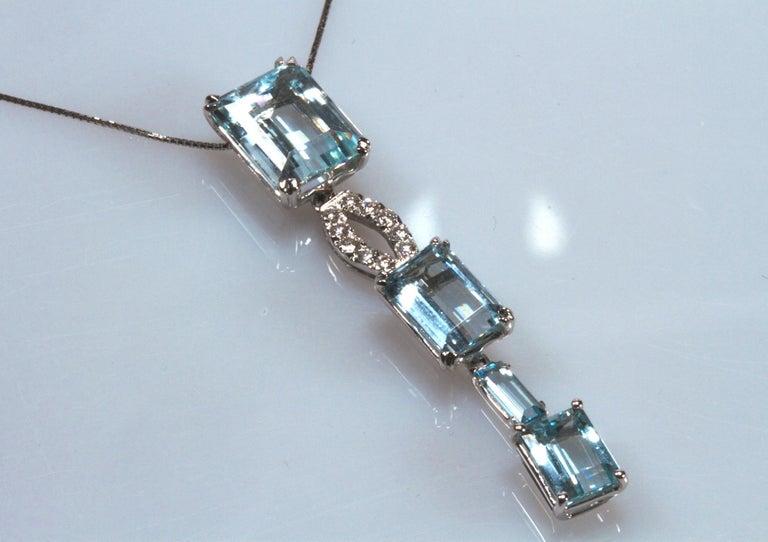 Mixed Cut White Gold 18k ,Blue Aquamarine and Diamond Drop Necklace