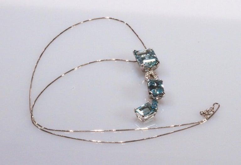 White Gold 18k ,Blue Aquamarine and Diamond Drop Necklace 1