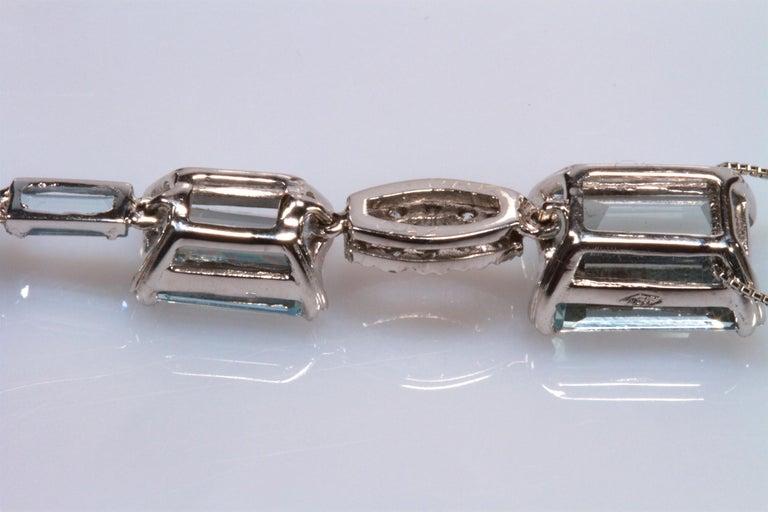 White Gold 18k ,Blue Aquamarine and Diamond Drop Necklace 2
