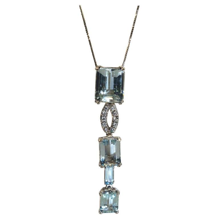 White Gold 18k ,Blue Aquamarine and Diamond Drop Necklace
