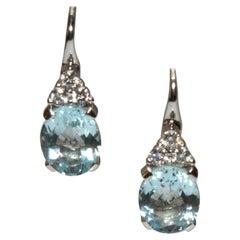 White Gold 18k Blue Aquamarine and Diamond Earrings