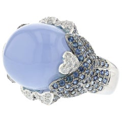 White Gold Blue Chalcedony Sapphire Ring