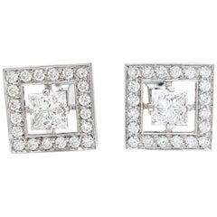"White Gold Boucheron Cufflinks ""Ava"" Collection, Diamonds"