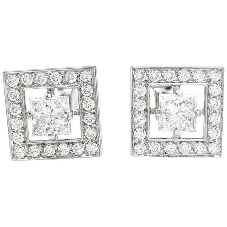 "White Gold Boucheron Cufflinks ""Ava"" Collection, Diamonds For Sale"