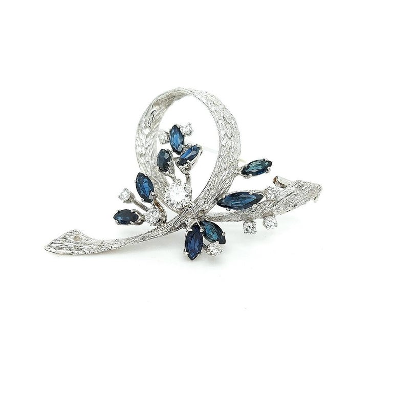 White Gold Bouquet Brooch with Diamonds and Sapphires For Sale 4